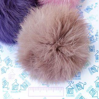 Помпон из меха кролика Грязный розовый