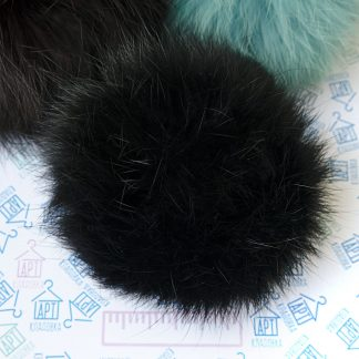 Помпон из меха кролика Черный
