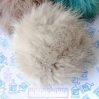 Помпон из меха кролика Карамельный