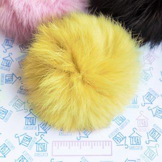Помпон из меха кролика Желтый